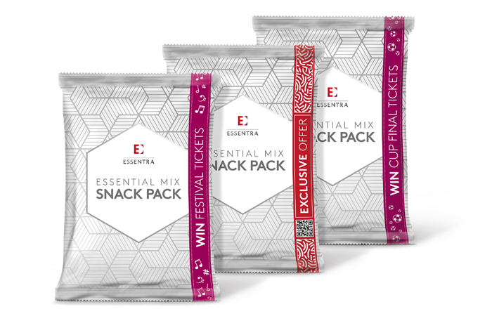 Snack packs with tape