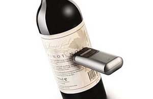 A wine bottle being scanned